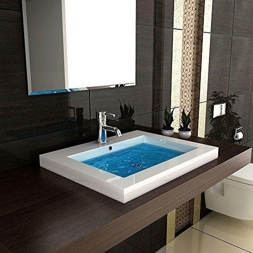 Eckiges Mineralguss-Waschbecken mit Überlauf/60 cm Breite
