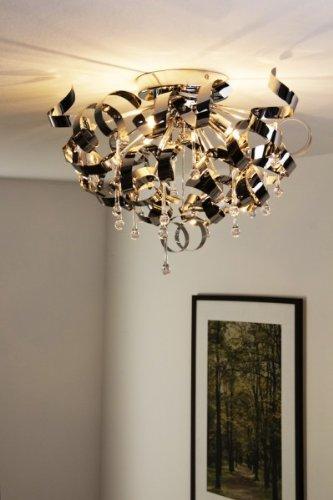 Moderne verchromte Deckenlampe mit Spiralen und Behang