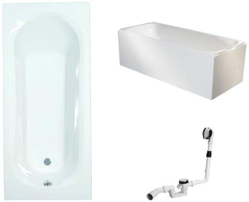 Mybath BWSET134ET Badewannen komplett Set inklusiv Acryl Rechteck Träger und Über- Ablaufgarnitur, 170 x 70 cm