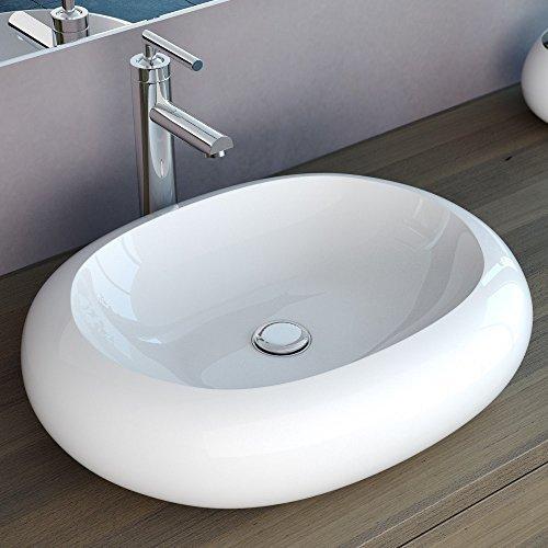 NEG Design Aufsatz-Waschbecken Uno26A, 56x46x13cm (BxTxH), Waschschale mit ovalem Rand und Nano-Beschichtung (Lotus-Effekt)