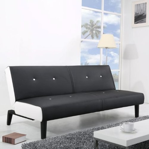 neg design schlafsofa helios schwarz wei klappsofa g steliege mit napalon leder bezug. Black Bedroom Furniture Sets. Home Design Ideas