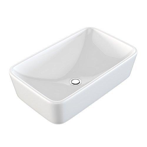 NEG Waschbecken Uno98A (eckig), Aufsatz-Waschschale/Waschtisch (weiß) mit schmalem Rand und Nano-Beschichtung