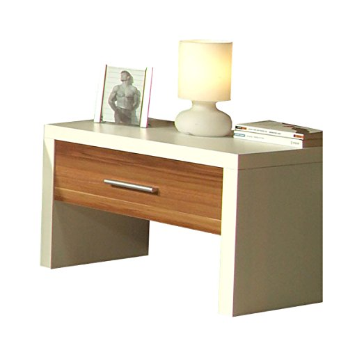 nachtkonsole nachttisch nachtkommode trio wei nussbaum hochglanz breite 60 cm tiefe 40 cm. Black Bedroom Furniture Sets. Home Design Ideas