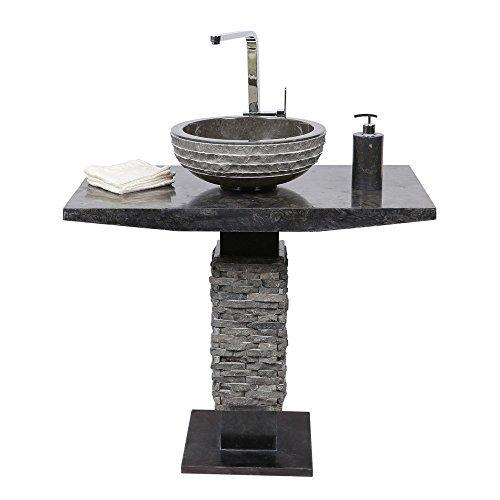 wohnfreuden marmor s ulenwaschtisch inkl waschbecken t model 50 x 90 cm gro rund schwarz. Black Bedroom Furniture Sets. Home Design Ideas