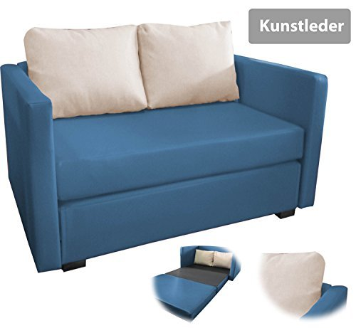 onux 2er couch sofa mit schlaffunktion kunstleder blau m bel24 m bel g nstig. Black Bedroom Furniture Sets. Home Design Ideas
