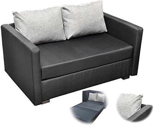 m bel24 m bel g nstig onux 2er couch sofa mit schlaffunktion stoff schwarz 0. Black Bedroom Furniture Sets. Home Design Ideas