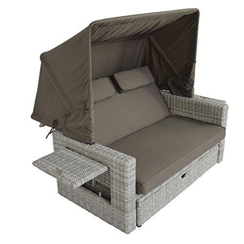 outliv gartensofa ratan belvi loungebank halbrundgeflecht mixed wei kissen taupe loungem bel. Black Bedroom Furniture Sets. Home Design Ideas