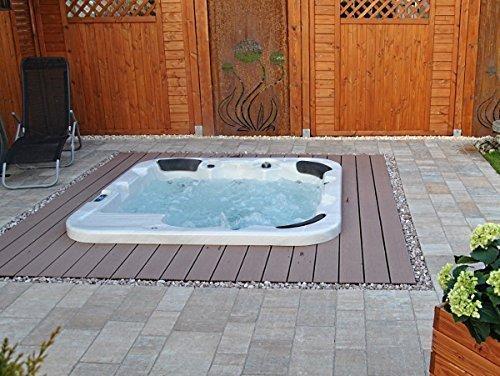 Outdoor Whirlpool Hot Tub Venedig Farbe weiß mit 44 Massage Düsen + Heizung + Ozon Desinfektion + LED Beleuchtung für 5 - 6 Personen für Garten / Terrasse / Außen