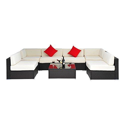 outsunny gartenm bel polyrattan 23 teilig aluminium rattan gartenset sitzgruppe loungeset. Black Bedroom Furniture Sets. Home Design Ideas