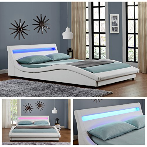 pisa led doppelbett polsterbett bettgestell bett lattenrost kunstleder weiss 160cm x 200cm. Black Bedroom Furniture Sets. Home Design Ideas