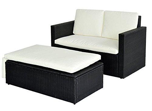 poly rattan lounge gartenset schwarz sofa garnitur. Black Bedroom Furniture Sets. Home Design Ideas