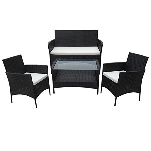 poly rattan lounge gartenset schwarz sofa garnitur. Black Bedroom Furniture Sets. Home Design Ideas