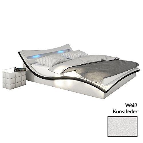 polster bett 140x200 cm wei schwarz aus kunstleder mit led beleuchtung magari das kunst. Black Bedroom Furniture Sets. Home Design Ideas