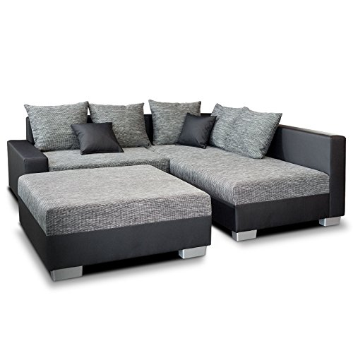 polster ecksofa mini mit hocker schwarz grau mit hocker als schlaffunktion m bel24. Black Bedroom Furniture Sets. Home Design Ideas