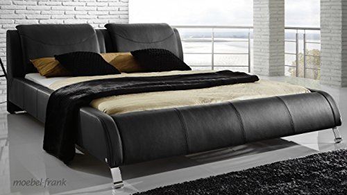 polsterbett echtlederbett schwarz 180x200 doppelbett. Black Bedroom Furniture Sets. Home Design Ideas