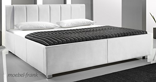 polsterbett kunst lederbett wei 160x200 cm doppelbett bettgestell komforth he mainz 2 m bel24. Black Bedroom Furniture Sets. Home Design Ideas