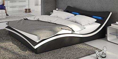 Polsterbett Turin 180x200 Schwarz inkl. LED - Kopflicht & Lattenrost Doppelbett Ehebett Bett