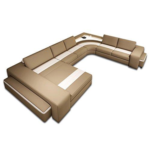 polsterecke leon mit beleuchtung und 2 hocker farbwahl. Black Bedroom Furniture Sets. Home Design Ideas