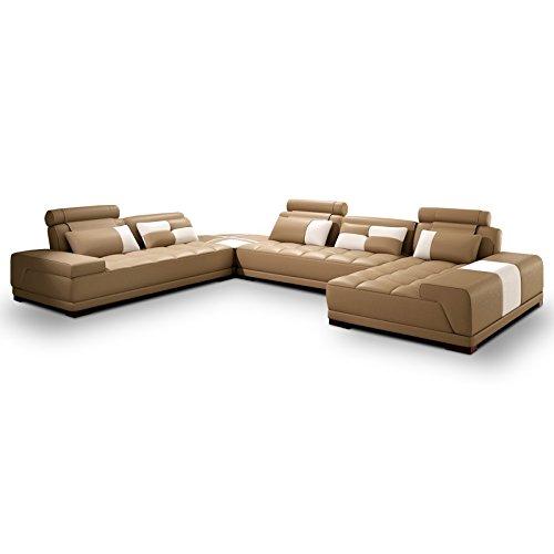 polsterecke san remo mit beleuchtung farbwahl wohnlandschaft polsterecke couchgarnitur echtleder. Black Bedroom Furniture Sets. Home Design Ideas