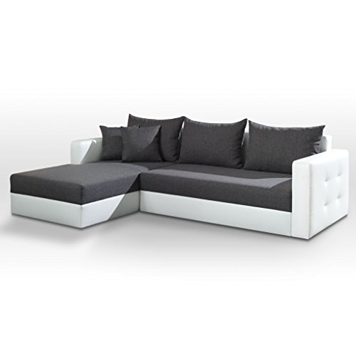 polsterecke sofa aron mit schlaffunktion schlafsofa schlafcouch kunstleder webstoff bettfunktion. Black Bedroom Furniture Sets. Home Design Ideas