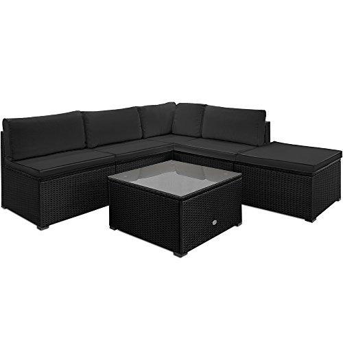 deuba xxl poly rattan lounge set schwarz 20cm dicke r ckenkissen 7cm dicke sitzauflagen in. Black Bedroom Furniture Sets. Home Design Ideas