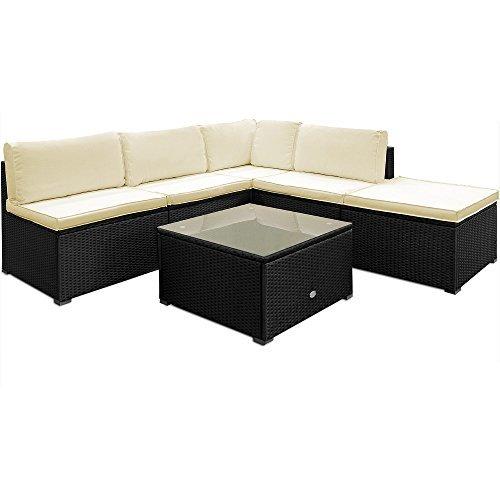 deuba poly rattan lounge set schwarz mit 20cm dicke r ckenkissen 7cm dicke sitzauflagen in. Black Bedroom Furniture Sets. Home Design Ideas