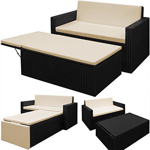 poly rattan lounge mit klappbarer fu bank gartenliege gartensofa sessel liege m bel24. Black Bedroom Furniture Sets. Home Design Ideas