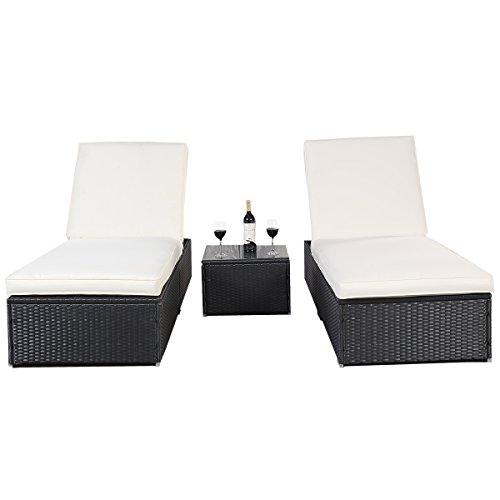 Polyrattan Gartenliege Sonnenliege Relaxliege Liegestuhl Kissen Lounge Doppelliege Liegegruppe (Schwarz)