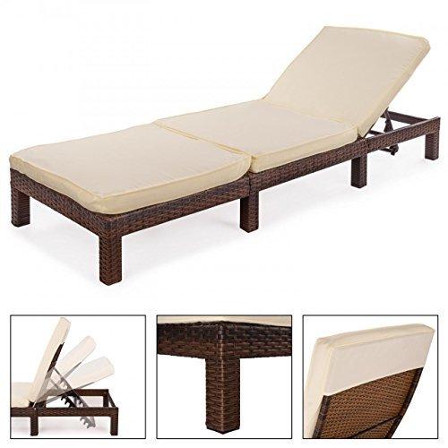 polyrattan sonnenliege gartenliege gartenm bel rattanm bel mit auflage 195 x 65 x 21 7 cm braun. Black Bedroom Furniture Sets. Home Design Ideas