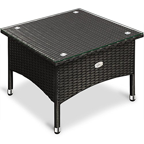 deuba polyrattan tisch beistelltisch rattan teetisch gartentisch glasplatte 50x50x45cm schwarz. Black Bedroom Furniture Sets. Home Design Ideas