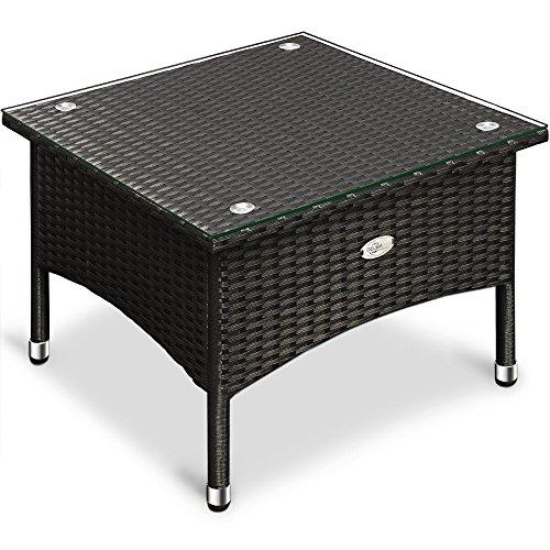 polyrattan tisch beistelltisch rattan teetisch gartentisch glasplatte 50x50x45cm schwarz garten. Black Bedroom Furniture Sets. Home Design Ideas