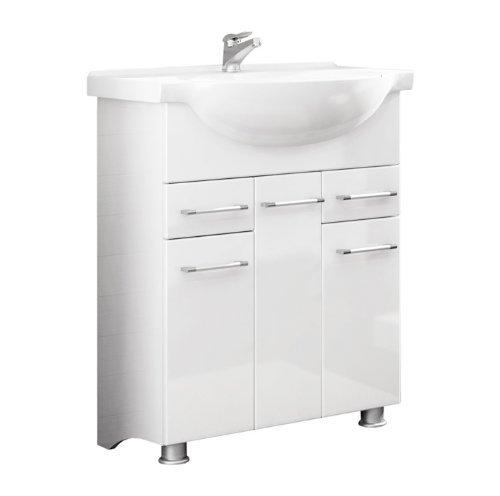 Quentis badmbelset neris 75 2 teilig wei hochglanz for Küchen unterschrank wei hochglanz