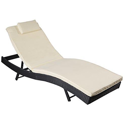 Rattan Lounge Liege Liegestuhl Garten Garnitur Outdoor Gartenliege Relaxliege Neu Schwarz
