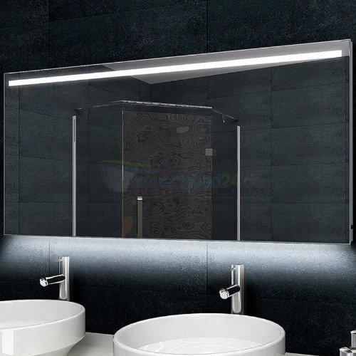 Design-Badezimmerspiegel Alu-Rahmen LED-Beleuchtung - 140x60 cm
