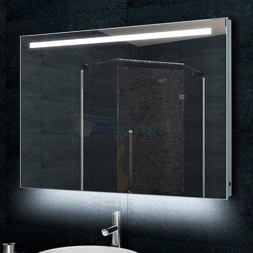 René Bugil Design-Badezimmerspiegel Alu-Rahmen inkl. LED-Beleuchtung - 60x100cm
