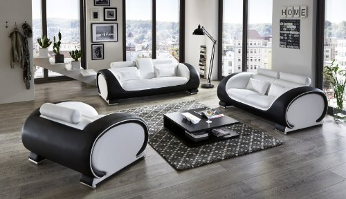 sam garnitur vigo 3 teilig wei schwarz couch aus kunstleder m bel24. Black Bedroom Furniture Sets. Home Design Ideas