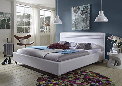 m bel24 m bel g nstig sam design polsterbett kent 180 x 200 cm in wei bett mit 3 schwarzen. Black Bedroom Furniture Sets. Home Design Ideas