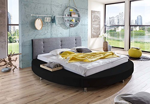 m bel24 m bel g nstig sam design rundbett bastia bett in schwarz grau kopfteil abgesteppt. Black Bedroom Furniture Sets. Home Design Ideas