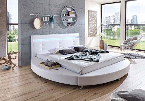 sam design rundbett 180x200 cm bastia wei led beleuchtung kopfteil abgesteppt chromf en. Black Bedroom Furniture Sets. Home Design Ideas