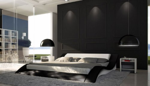 sam polsterbett innocent santucci 160 x 200 cm schwarz wei geschwungene seitenteile kopfteil. Black Bedroom Furniture Sets. Home Design Ideas