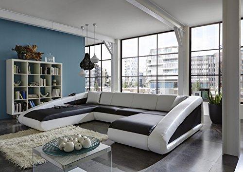 M bel24 m bel g nstig sam sofa garnitur schwarz wei for Couchlandschaft xxl