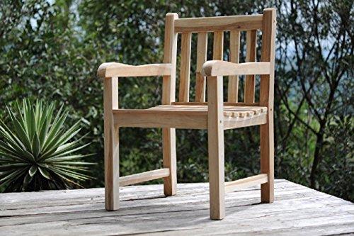 sam teak massivholz gartensessel geschliffen stuhl mit armlehnen sessel f r balkon terrasse. Black Bedroom Furniture Sets. Home Design Ideas