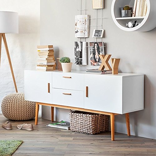 sideboard malm kommode wei retro schrank dekor eiche. Black Bedroom Furniture Sets. Home Design Ideas