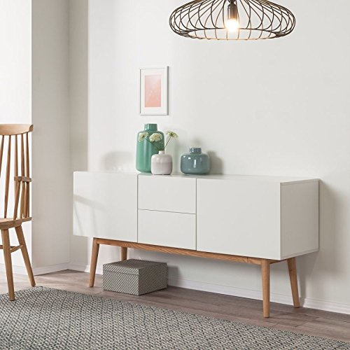 sideboard malm in wei im retro stil dekor eiche massiv holz au2116h m bel24. Black Bedroom Furniture Sets. Home Design Ideas
