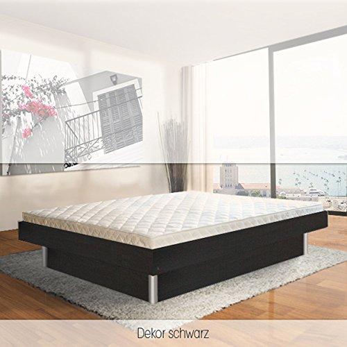 SONDERAKTION bellvita silverline Wasserbett mit Unterbausockel in KOMFORTHÖHE & Bettumrandung inkl. Lieferung & Aufbau durch Fachpersonal, 160 cm x 200 cm (schwarz)