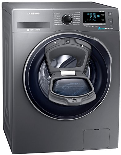 Samsung WW80K6404QX/EG Waschmaschine FL/A+++/116 kWh/Jahr/1400 UpM/8 kg/Add Wash/WiFi Smart Control/Super Speed Wash/Digital Inverter Motor/anthrazit
