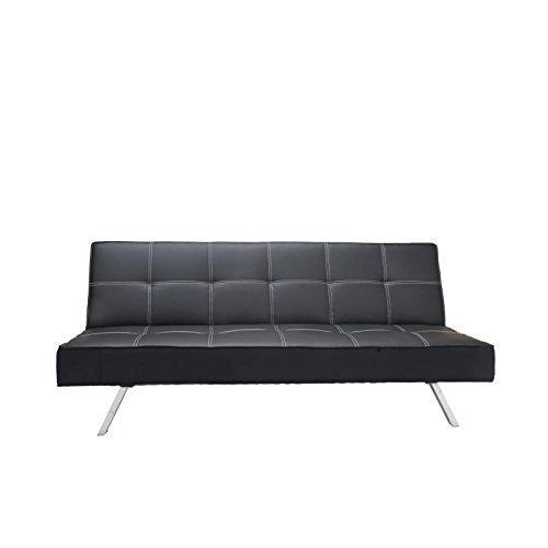 schlafsofa klappsofa mit wei en n hten schwarz edelstahl f e kunstleder m bel24. Black Bedroom Furniture Sets. Home Design Ideas