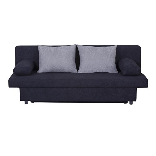 caro m bel schlafsofa schlafcouch 2 sitzer sofa zoe in schwarz hellgrau mit bettkasten und. Black Bedroom Furniture Sets. Home Design Ideas