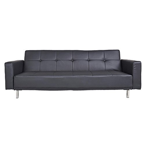 schlafsofa schlafcouch 3 sitzer luvia kunstleder in schwarz mit schlaffunktion 0 m bel24. Black Bedroom Furniture Sets. Home Design Ideas
