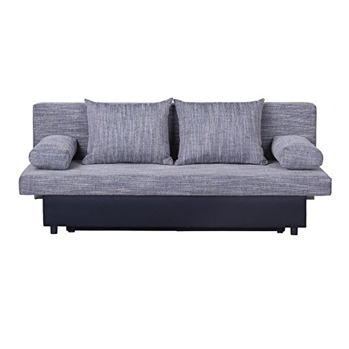 schlafsofa schlafcouch sofa zoe 2 sitzer in grau mit. Black Bedroom Furniture Sets. Home Design Ideas